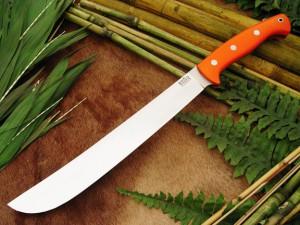 Нож с фиксированным клинком Golok Upswept Blaze Orange G-10