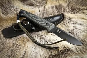 Нож с фиксированным клинком Santi AUS-8 Black Titanium Kydex