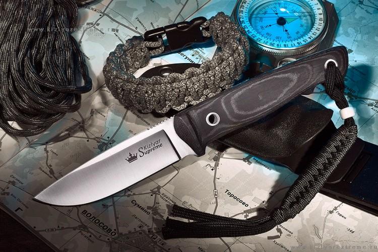 Нож с фиксированным клинком Santi D2 Полированный с Kydex