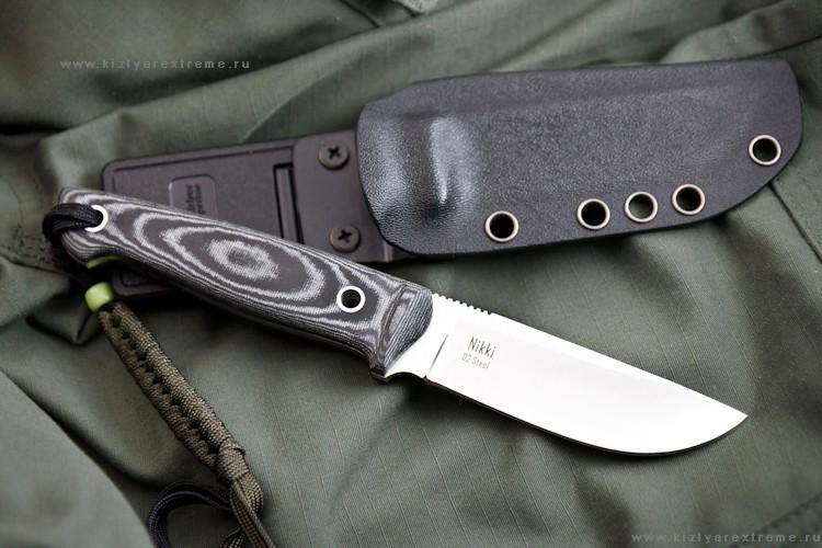 Нож с фиксированным клинком Nikki D2 Satin Kydex