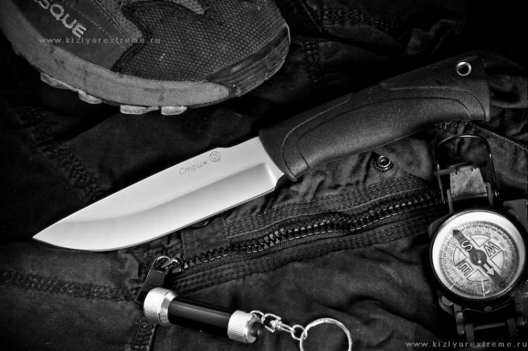 Нож с фиксированным клинком Стриж Полированный Эластрон z90