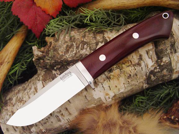 Нож с фиксированным клинком Drop Point Hunter Maroon Linen Micarta