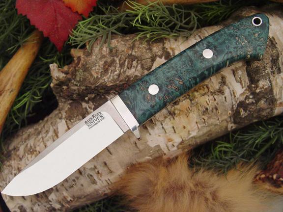 Нож с фиксированным клинком Drop Point Hunter Teal Green Elder Burl
