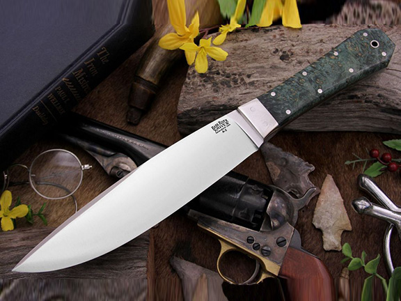 Нож с фиксированным клинком Rogue Green Gold Elder Burl