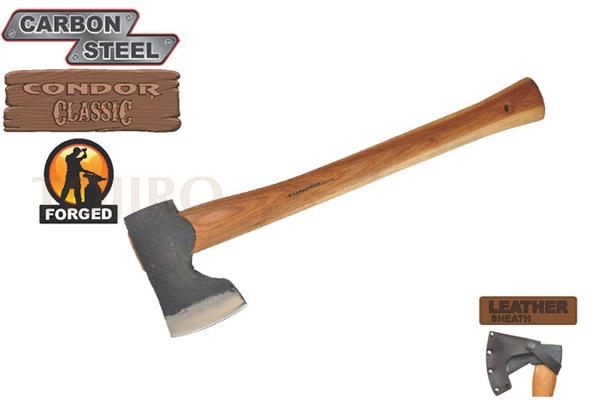 Топор CONDOR TOOL CTK4052C15 WOODWORKER AXE 1.5 Lbs Рукоять из гикори Ножны Кожа