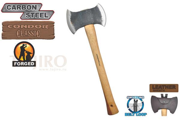 Топор CONDOR TOOL CTK4051C175 DOUBLE BIT MICHIGAN 1.75 Lbs Рукоять из гикори ножны кожа