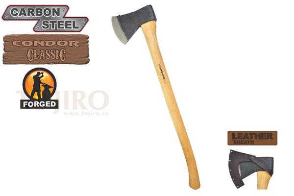 Топор CONDOR TOOL CTK4055C35 SWEDISH PATTERN AXE 3.5 Lbs Рукоять из гикори ножны кожа