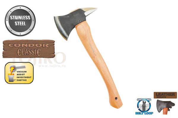 Топор CONDOR TOOL CTK4042C BABY SPIKE AXE 0.5 Lbs Рукоять из гикори Ножны Кожа