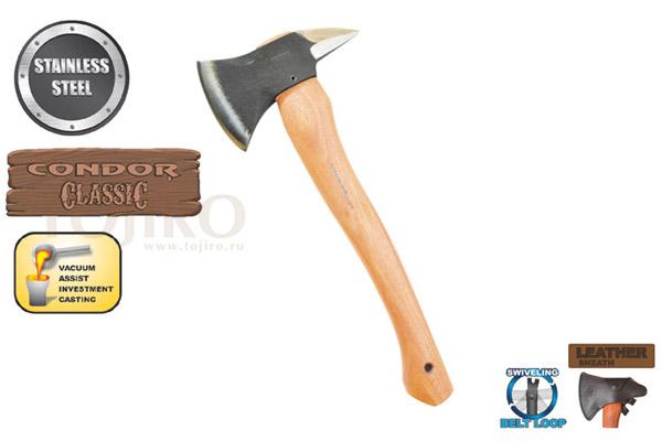Топор CONDOR TOOL CTK4040C SPIKE AXE 1.67 Lbs Рукоять из гикори Ножны Кожа