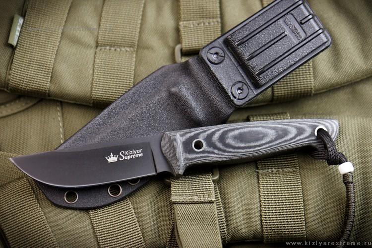 Нож с фиксированным клинком Nikki AUS-8 Black Titanium Kydex