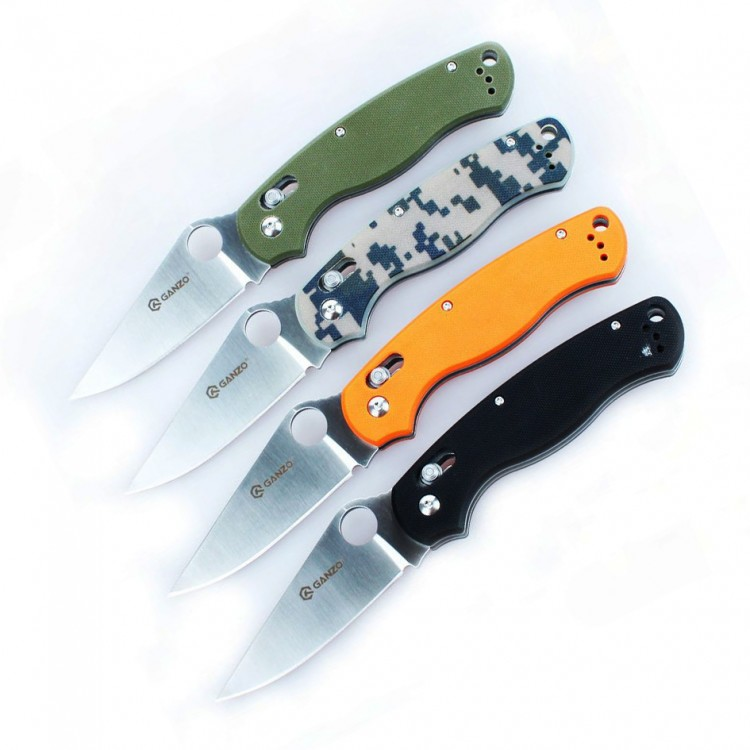 Купить нож Ganzo G729 (черный, зеленый, оранжевый, камуфляж), арт. G729-BK с доставкой