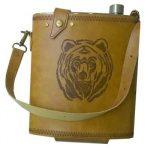 Фляга нержавеющая Viking Nordway FL88 1K1 2,5 литра в кожаном чехле с рисунком медведя 2