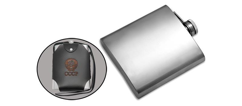 Фляжка нержавеющая Viking Nordway FL48-1K 1.5л в кожаном чехле с гербом