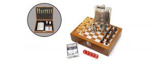 Фляжка нержавеющая Viking Nordway FL8-25N21 с шахматным набором и игральными картам
